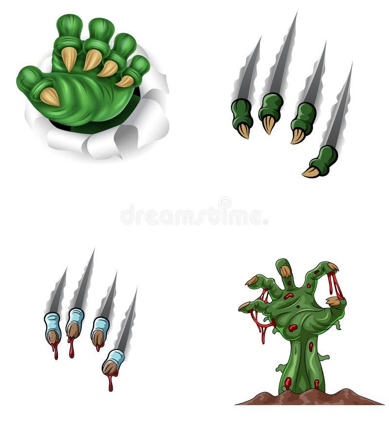 La garra del monstruo de la historieta que rasga a través con el zombi distribuye de la tierra ilustración del vector