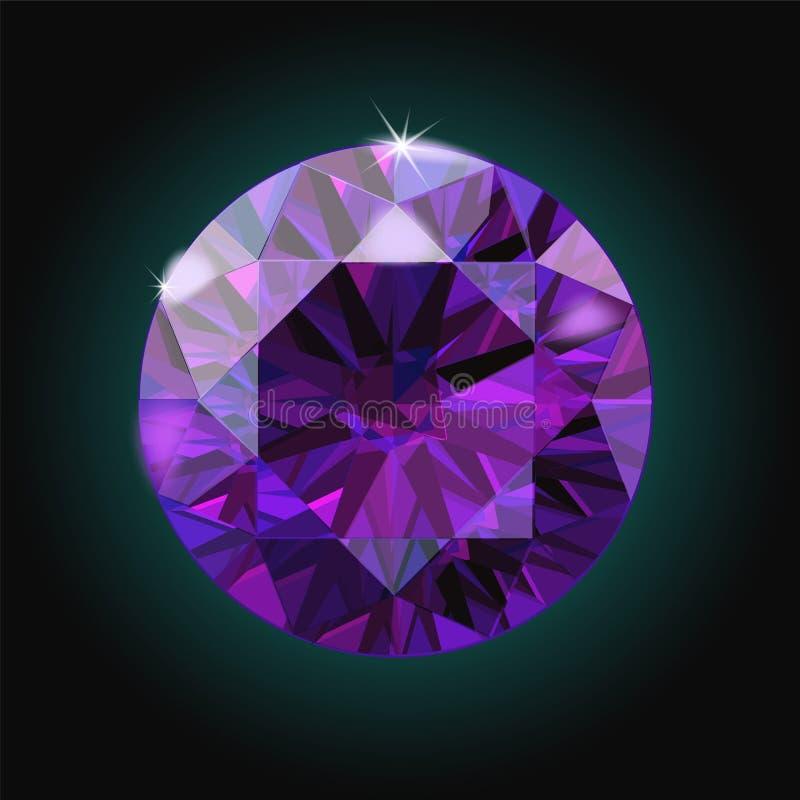 La gemma di cristallo porpora ametista brillante scintilla vettore nero del fondo illustrazione vettoriale
