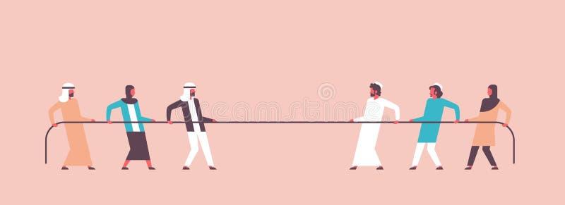 La gente árabe del esfuerzo supremo combina tirando de extremos contrarios de la bandera árabe de la mujer del hombre del persona ilustración del vector