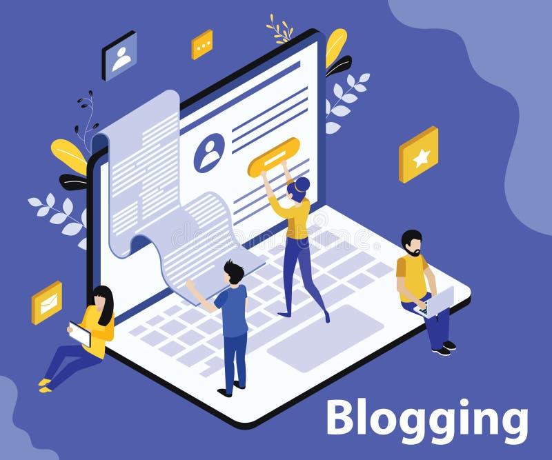 La gente è blogging sul concetto isometrico del materiale illustrativo del sito online illustrazione di stock