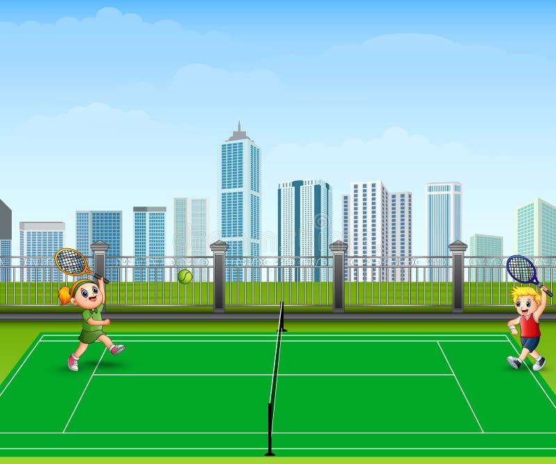 La gente è giocar a tennise all'aperto illustrazione vettoriale