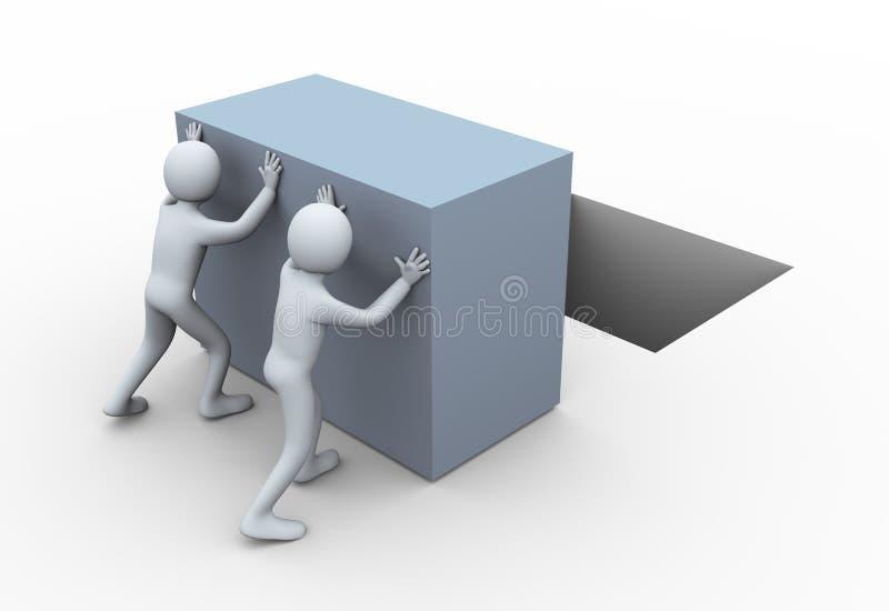 la gente 3d che spinge cubo. illustrazione vettoriale