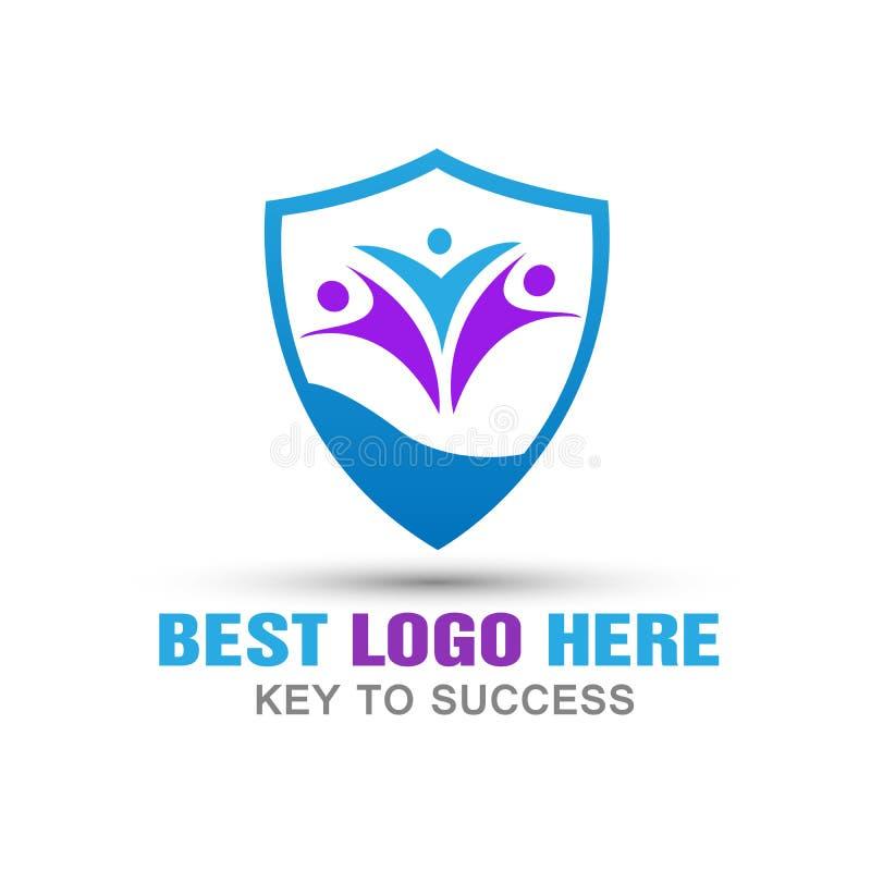La gente abstracta blinda el logotipo sefty de la seguridad de la protección de la familia del logotipo en el fondo blanco libre illustration
