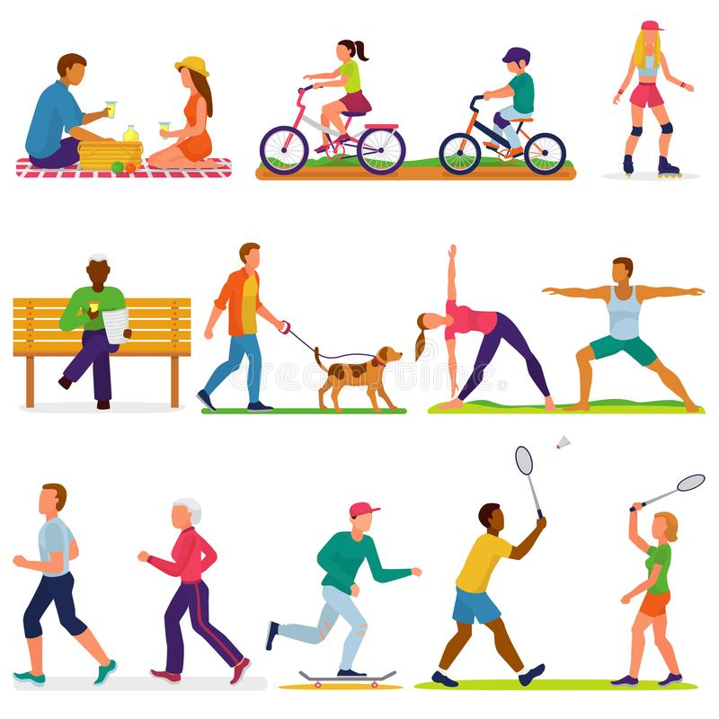 La gente activa vector el carácter de la mujer o del hombre en actividades del deporte que entrena a ejercicios del entrenamiento stock de ilustración