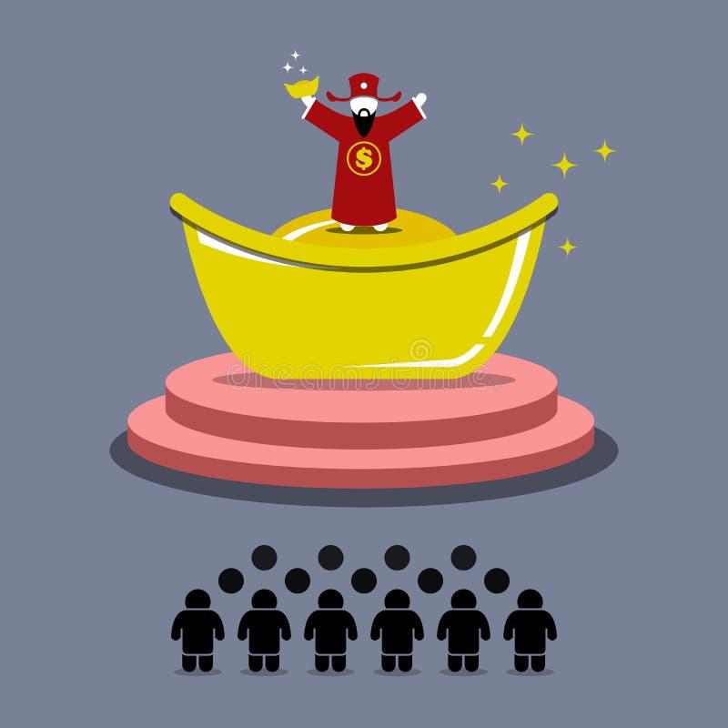 La gente adora y rogando para el dinero de dios de la fortuna libre illustration