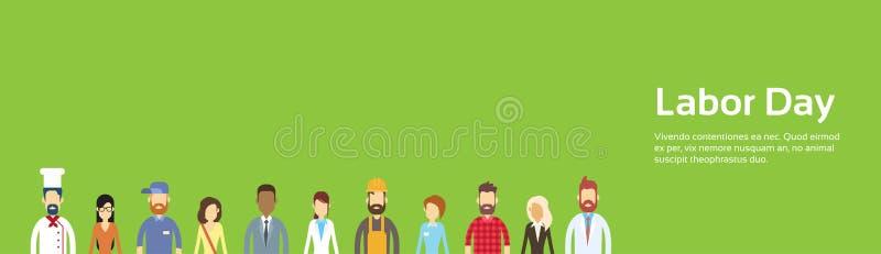 La gente agrupa, diversa profesión, Día del Trabajo puede bandera del día de fiesta con el espacio de la copia ilustración del vector