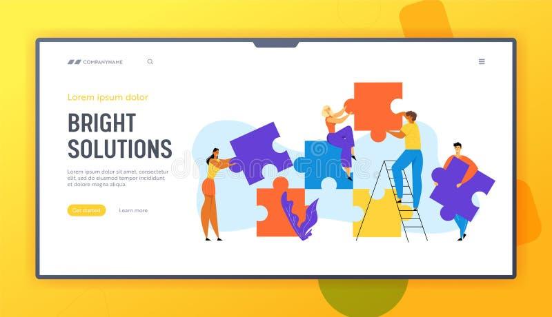La gente agrupa pedazos enormes puestos del rompecabezas Trabajo en equipo de los empresarios, cooperación de los empleados de of libre illustration