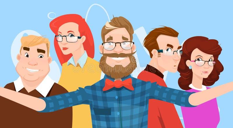 La gente agrupa tomar la foto de Selfie en amigos casuales coloridos del inconformista del teléfono elegante ilustración del vector