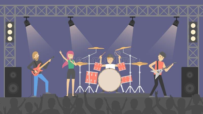 La gente al concerto rock illustrazione vettoriale