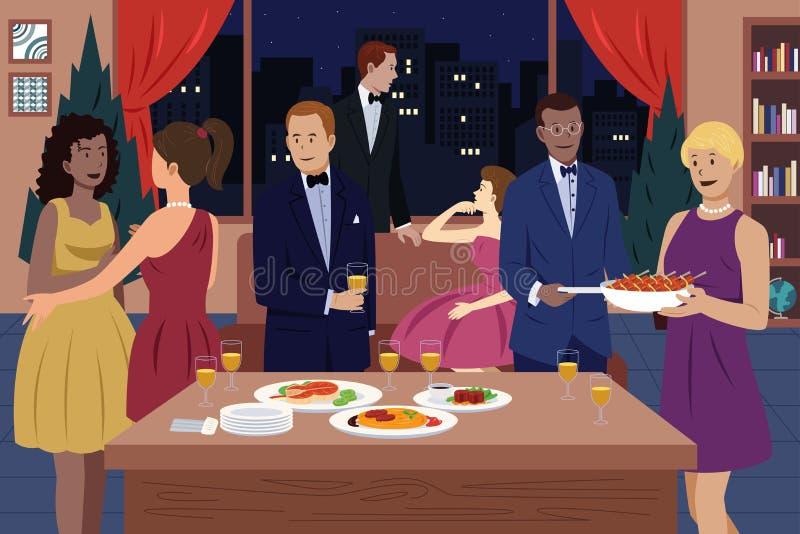La gente al partito di cena illustrazione vettoriale