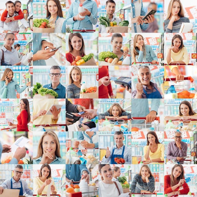 La gente al supermercato immagini stock libere da diritti
