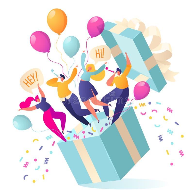 La gente alegre, plana de los caracteres salta de la caja de regalo Los amigos hicieron una sorpresa stock de ilustración