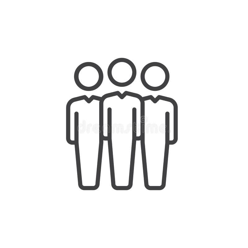 La gente alinea el icono, muestra del vector del esquema, pictograma linear del estilo aislado en blanco Símbolo del líder de equ libre illustration