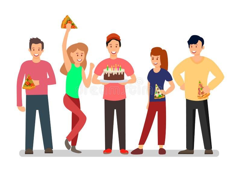 La gente all'illustrazione B giorna di vettore del partito di sorpresa royalty illustrazione gratis