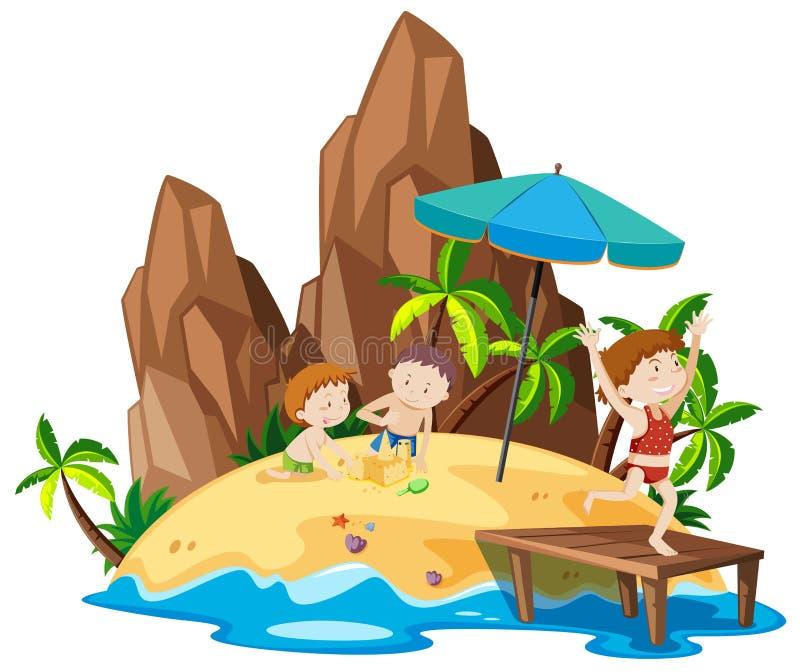 La gente all'isola della spiaggia royalty illustrazione gratis
