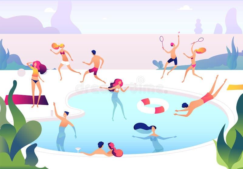 La gente alla piscina Le persone nuotano si tuffano le donne che prendenti il sole di rilassamento della famiglia del gruppo dell illustrazione vettoriale