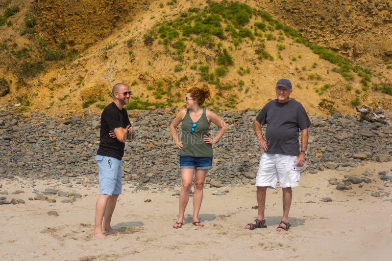 La gente alla spiaggia che parla insieme immagine stock libera da diritti
