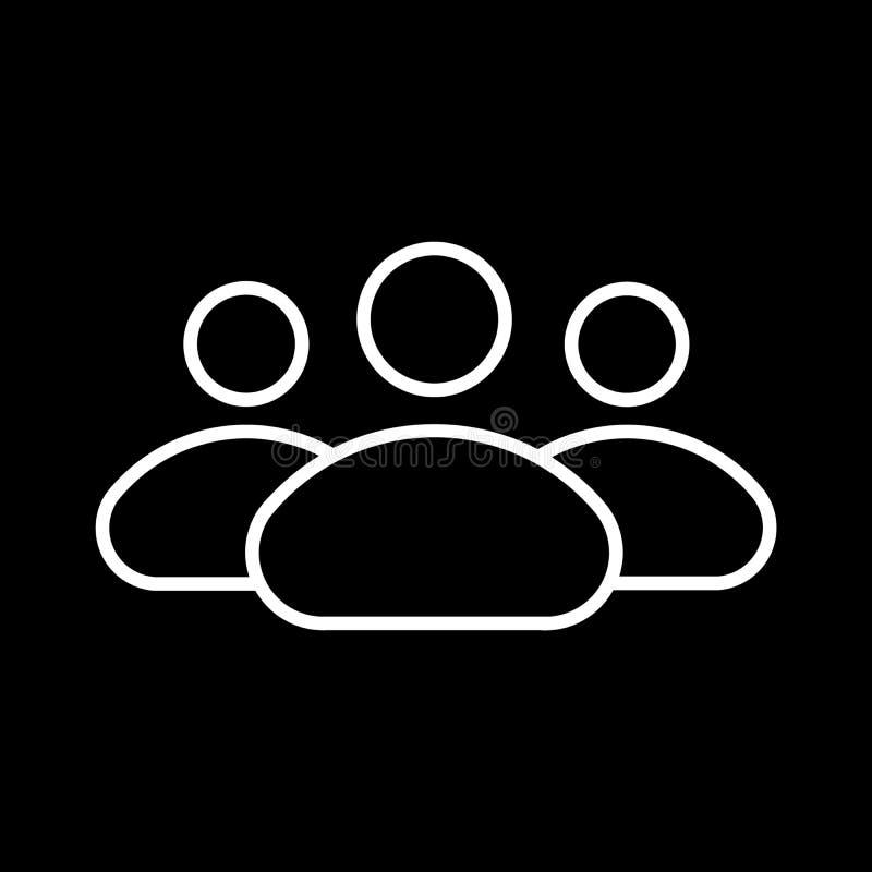 La gente allinea l'icona, il profilo delle persone e l'illustrazione di vettore del solido, gruppo isolato sul nero royalty illustrazione gratis