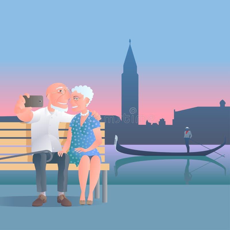 La gente anziana viaggia illustrazione di vettore in Italia, Venezia royalty illustrazione gratis