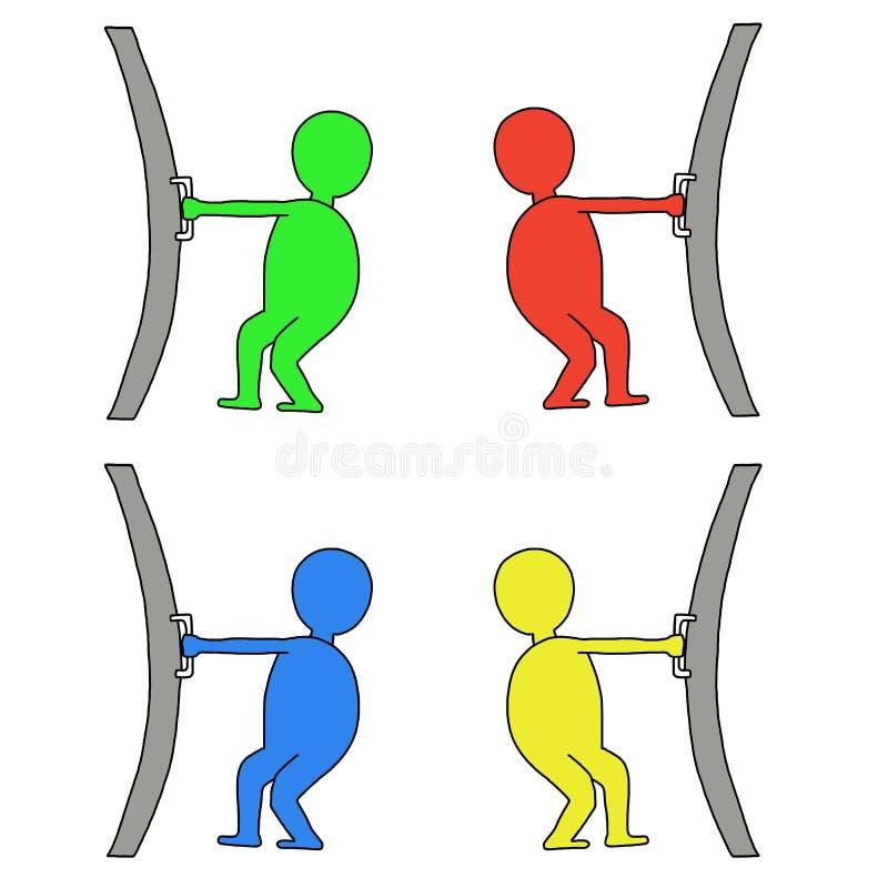 La gente apre una porta illustrazione vettoriale