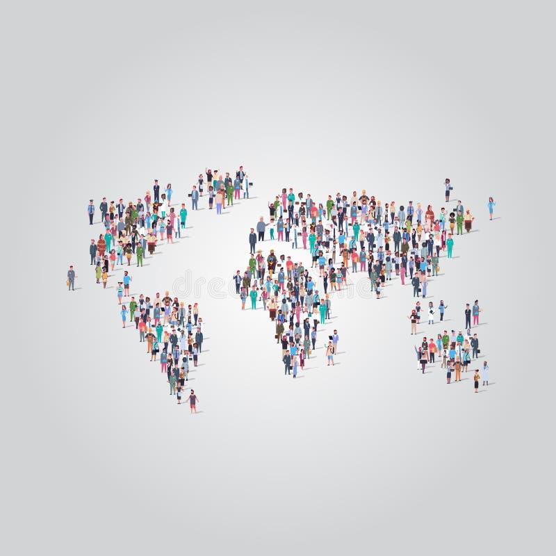 La gente aprieta la reunión en empleados del empleo de los medios de la forma del icono del mapa del mundo diversos de la comunid ilustración del vector
