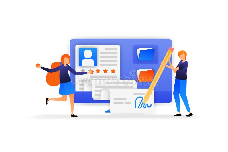 La gente aprueba el nuevo uso del registro del empleado firma para un nuevo acuerdo con un buen grado de cinco estrellas Illustra stock de ilustración