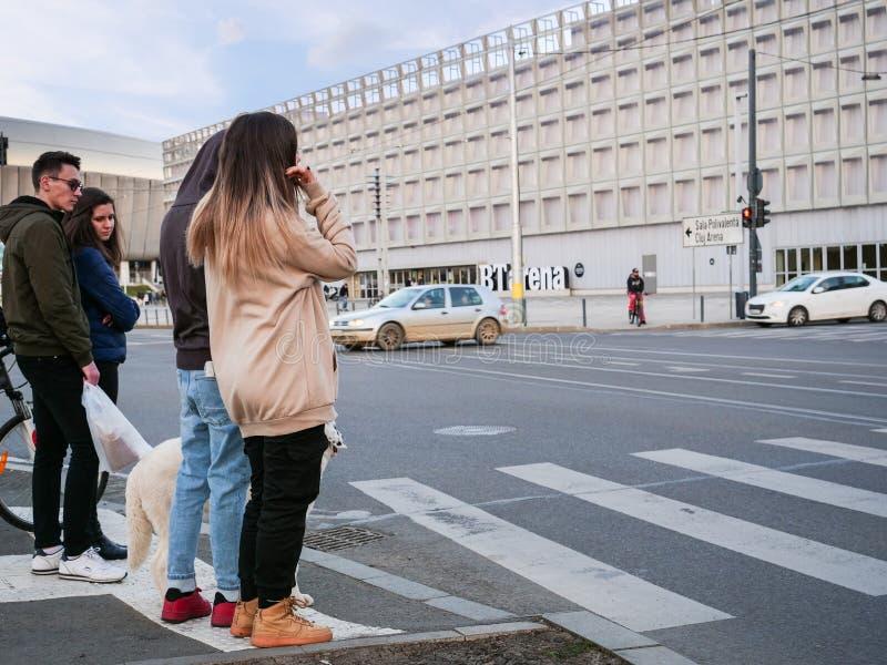 La gente aspetta sul marciapiede al passaggio pedonale immagine stock libera da diritti