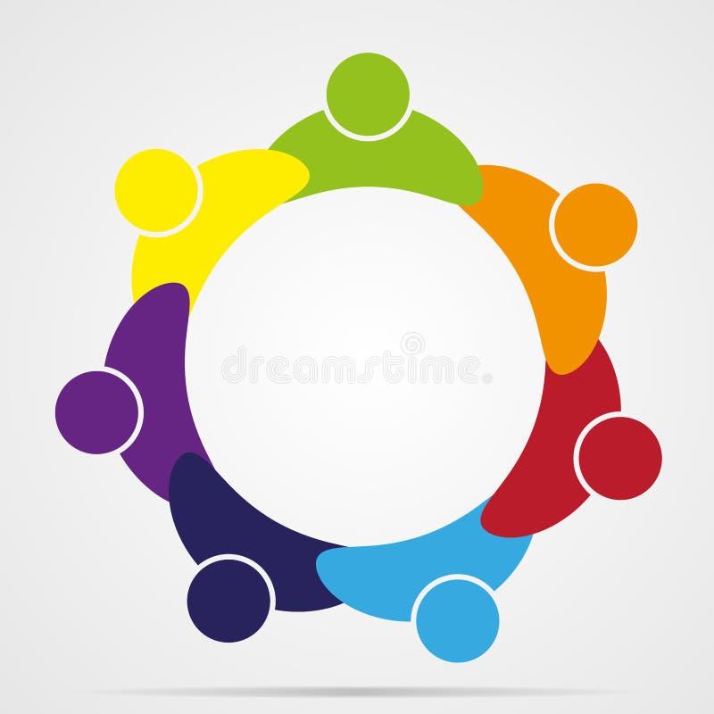 La gente astratta unisce il logo di amicizia, icona umana di vettore illustrazione di stock