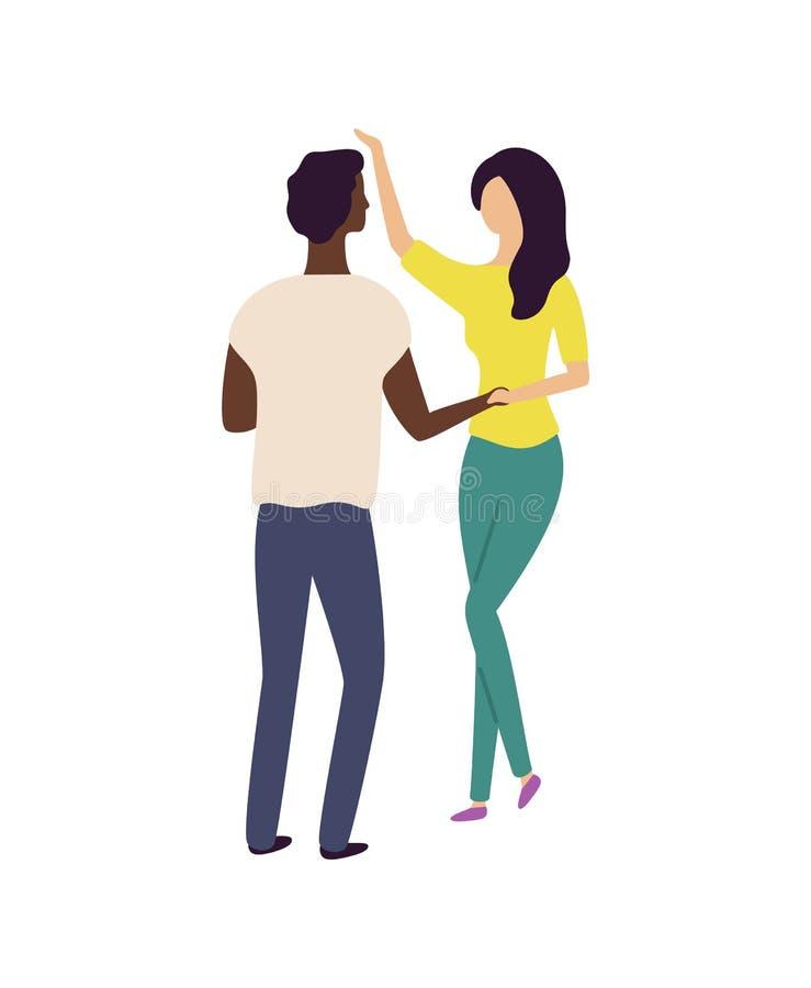 La gente baila en pares, hombre móvil y vector de la mujer stock de ilustración