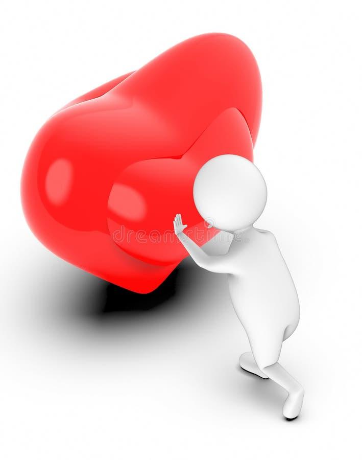 la gente bianca 3d che spinge un amore/cuore firma/simbolo illustrazione di stock