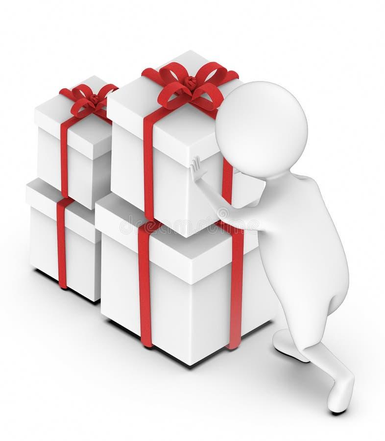 la gente bianca 3d che va aprirsi/sistema il contenitore di regalo avvolto nastro royalty illustrazione gratis
