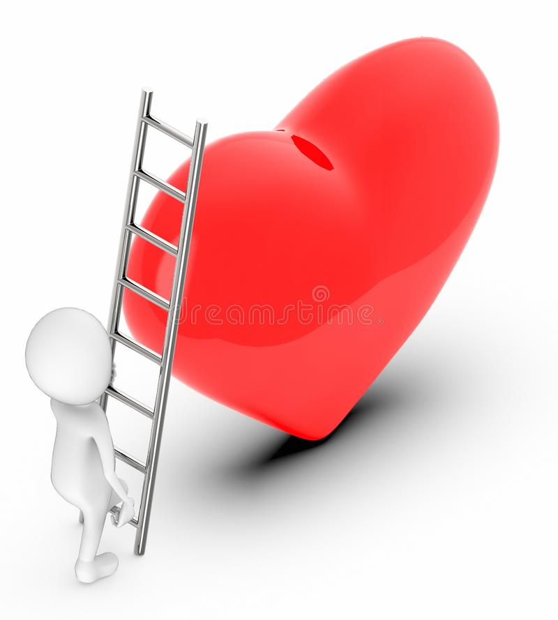 la gente bianca 3d scala verso un segno/forma di amore del cuore royalty illustrazione gratis