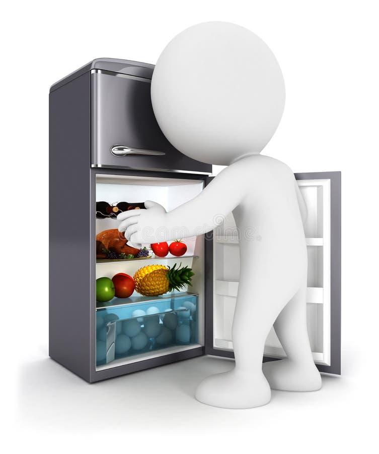 la gente blanca 3d abre una puerta del refrigerador libre illustration