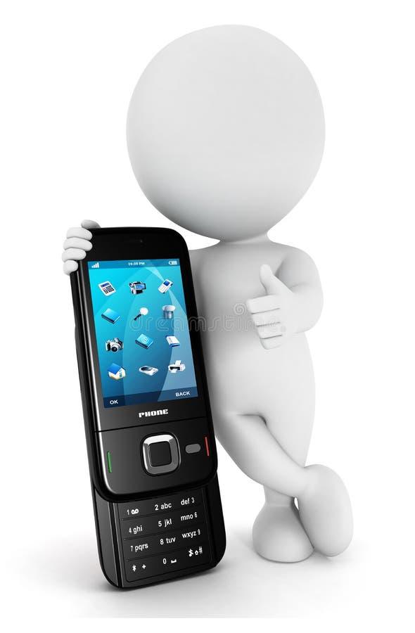 la gente blanca 3d quiere el teléfono móvil stock de ilustración