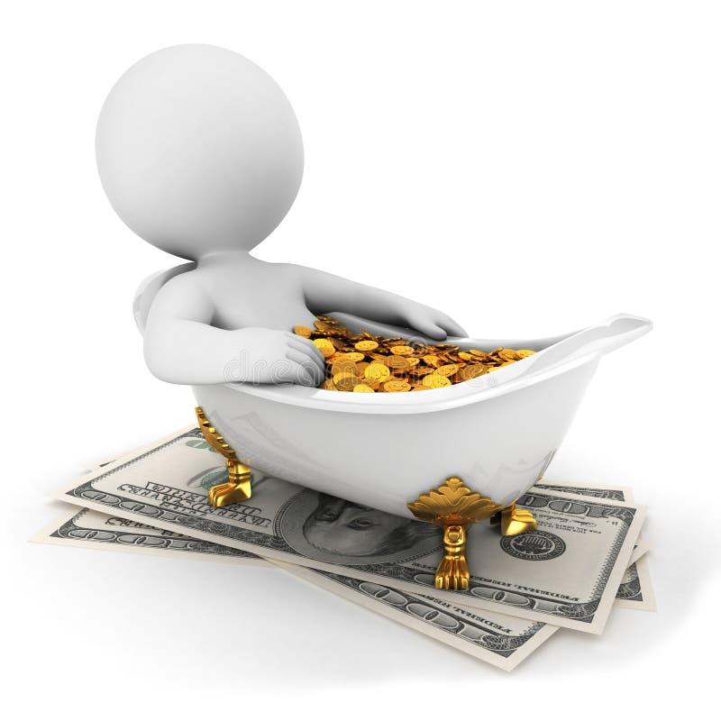 la gente blanca 3d toma un baño del dinero stock de ilustración
