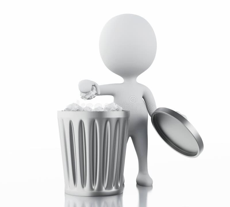 la gente blanca 3d recicla el bote de basura stock de ilustración