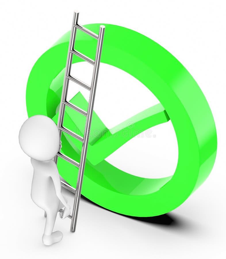 la gente blanca 3d sube para arriba con la ayuda de una escalera hacia una marca de la señal dentro de una muestra hueco del cili stock de ilustración