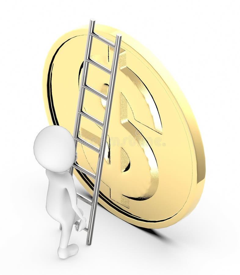 la gente blanca 3d sube para arriba con la ayuda de una escalera hacia una moneda de oro circular con la muestra de dólar libre illustration