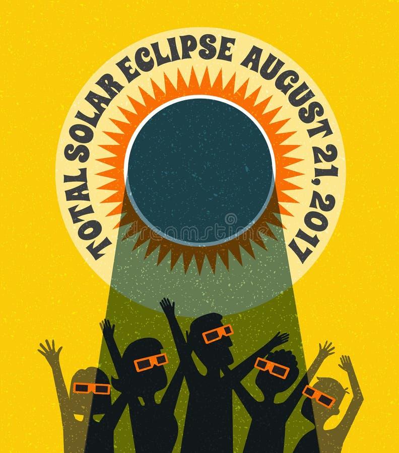 La gente celebra la observación del eclipse solar con los vidrios protectores stock de ilustración