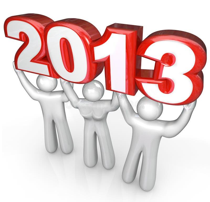 La gente celebra los Años Nuevos Eve Lift número de 2013 años stock de ilustración