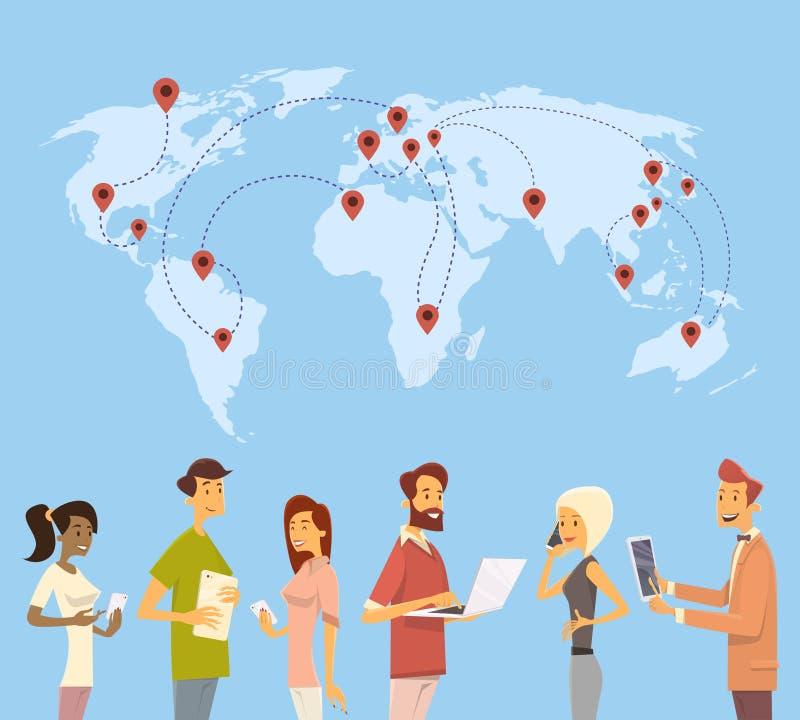 La gente charla la comunicación social de la red del mapa del mundo del dispositivo de Digitaces ilustración del vector