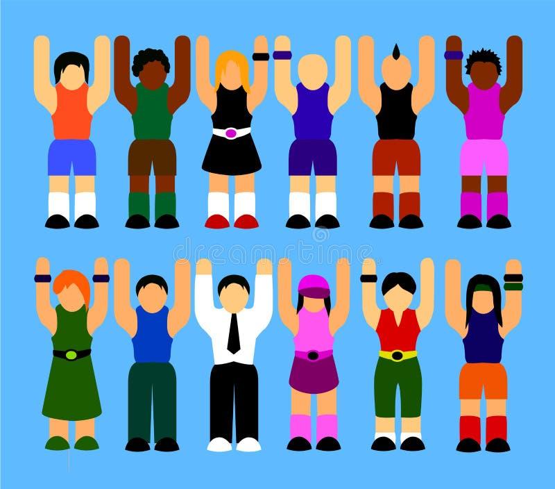 La gente che aumenta le loro mani su illustrazione vettoriale