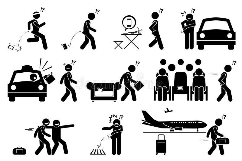 La gente che cade, dimenticante, collocato male e perdente il loro telefono ed effetti personali illustrazione di stock
