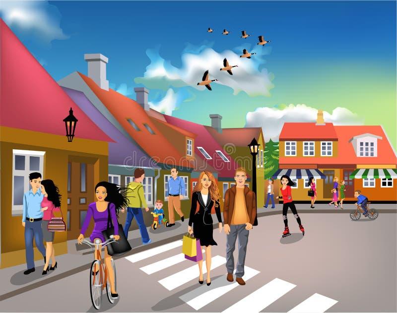 La gente che cammina attraverso la città un giorno soleggiato illustrazione vettoriale
