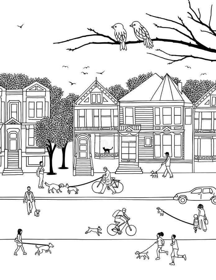 La gente che cammina i loro cani nella città royalty illustrazione gratis