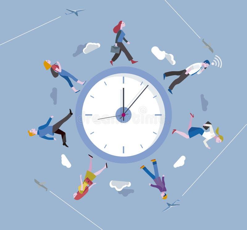 La gente che cammina intorno ad un orologio circolare illustrazione vettoriale