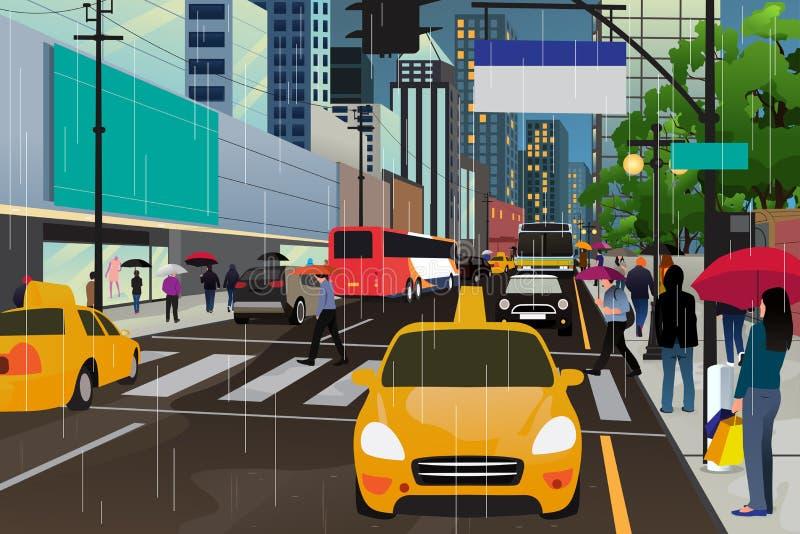 La gente che cammina nella pioggia illustrazione vettoriale