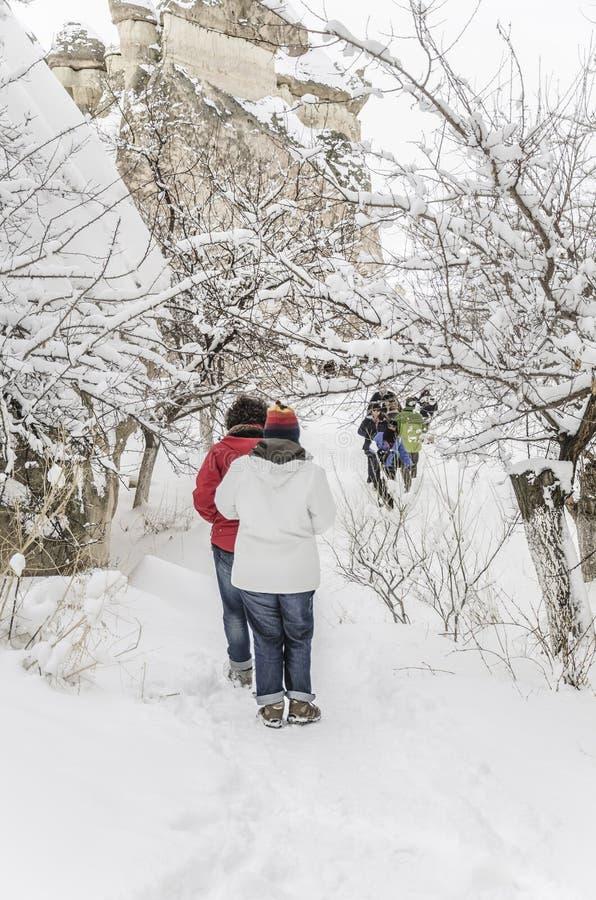 La gente che cammina sulla neve fotografia stock