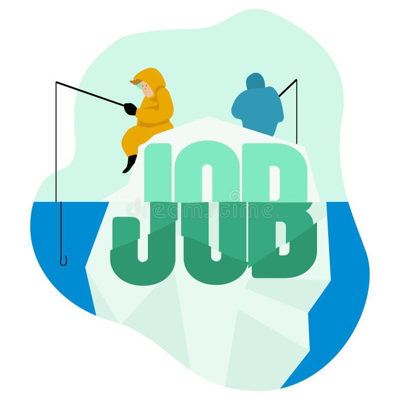 La gente che cerca lavoro, iceberg, pesca, lavoro di cattura illustrazione vettoriale