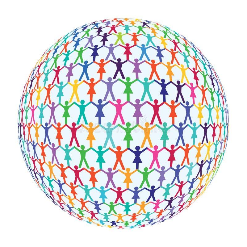 La gente che circonda il globo royalty illustrazione gratis